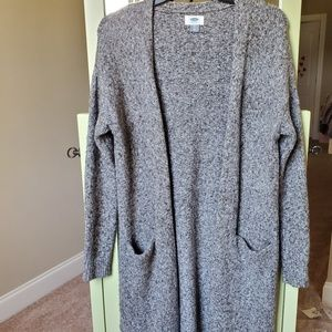Old Navy long sweater duster in grey marbled